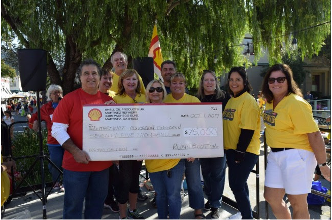 Picture of a check from Shell Refinery given to MEF.