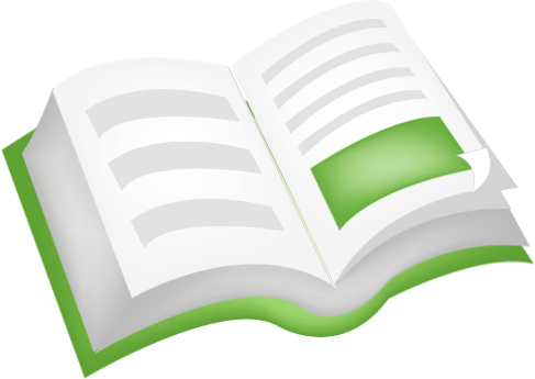 Image of Open book with green cover
