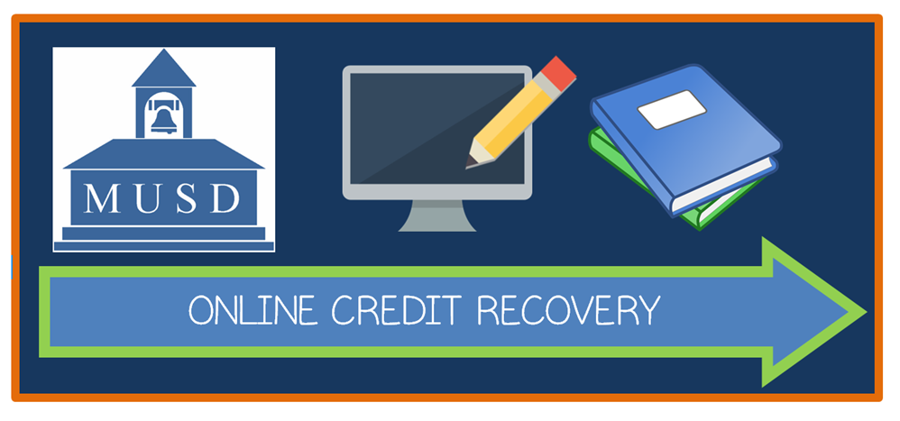 MUSD Logo and Image with arrow and words,  Online Credit Recovery.